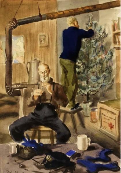 John_Worsley_British_1919_2000_Decorating_the_Christmas_Tree_1944 IWM