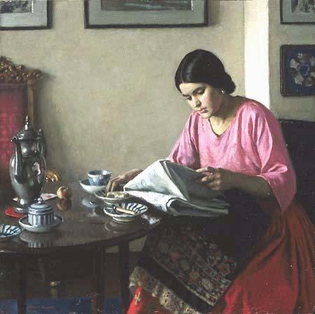 Persephone-Books-Harold-Knight-The-Breakfast-Table-1927