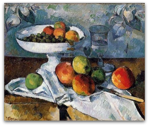 'Compotier, Glass and Fruit' by Cézanne