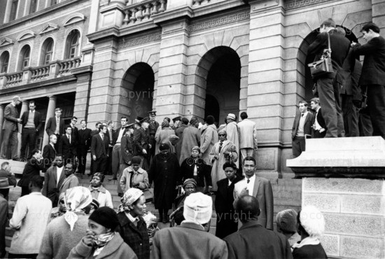 Outside the Palace of Justice, Pretoria, during the Rivonia trial.