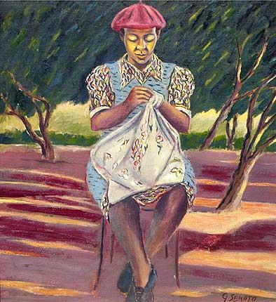 'Woman Sewing' by Gerard Sekoto. 1946