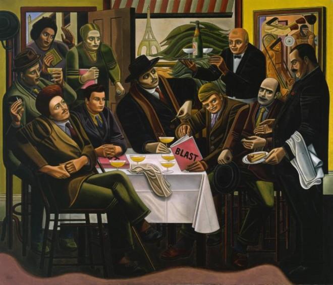 The Vorticists at the Restaurant de la Tour Eiffel: Spring, 1915 1961-2 by William Roberts 1895-1980