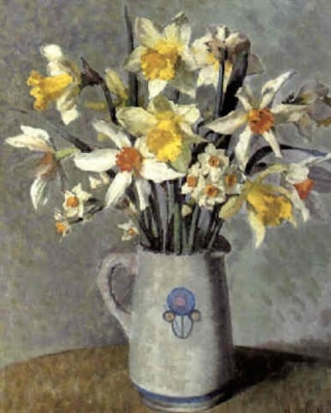 harold-harvey-still-life-of-daffodils-and-narcissi-in-a-white-jug