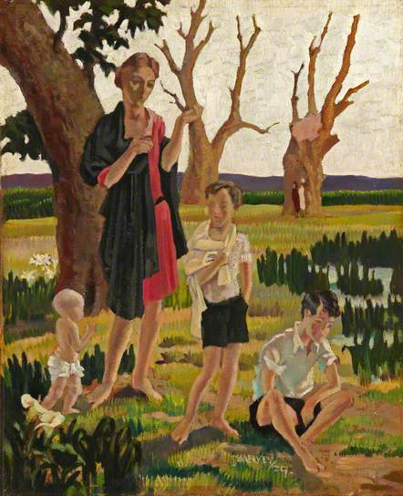 'A Mother and Three Children in a Landscape' by Harold Harvey.1929