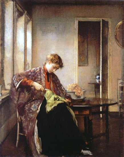 Girl Mending tarbell