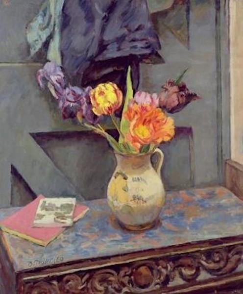 tulips i a decorated jug 1960 duncan grant