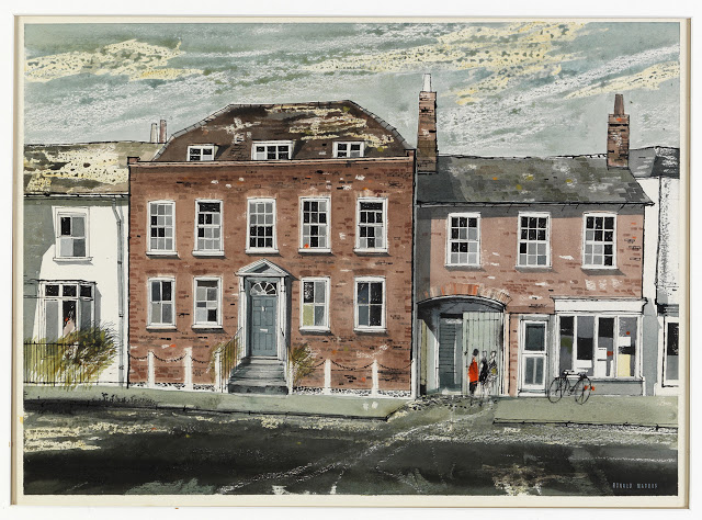 Brick House, Great Bardfield in 1960 by Ronald Maddox watercolour