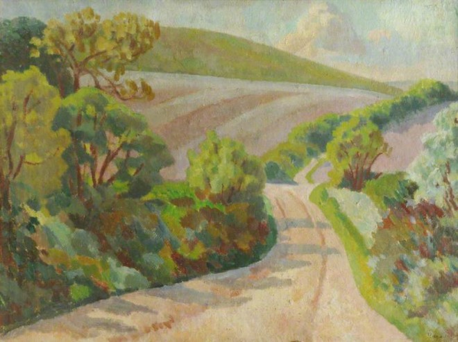 'A Lane in Rolling Countryside, South Downs', Roger Fry. 1918. Somerville College Oxford