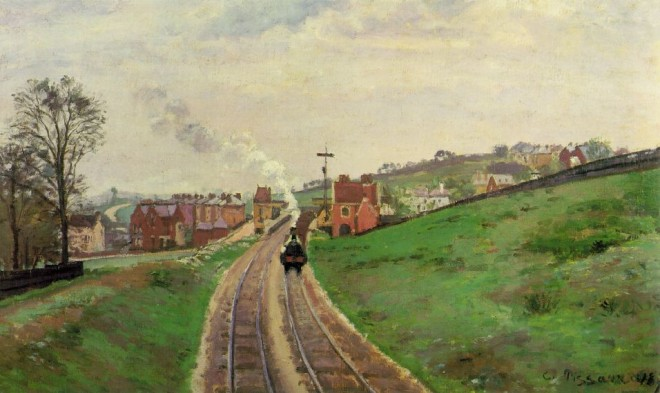 'Lordship Lane Railway Station, East Dulwich'. Camille Pissarro1870. Courtauld Institute of Art
