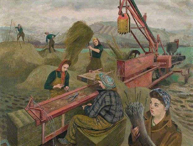 baling hay national museum of wales 1943