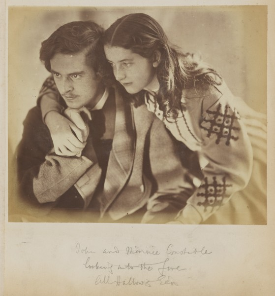 John-and-Minnie-Constable-looking-into-the-fire-All-Hallows-Eve-by-Oscar-Rejlander-1