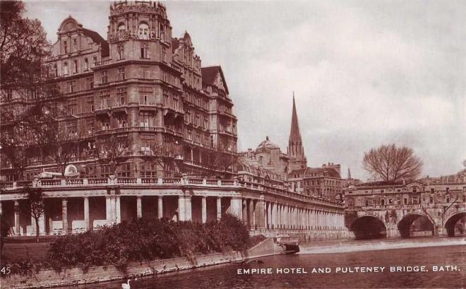 Somerset, Bath, Empire Hotel and Pulteney Bridge