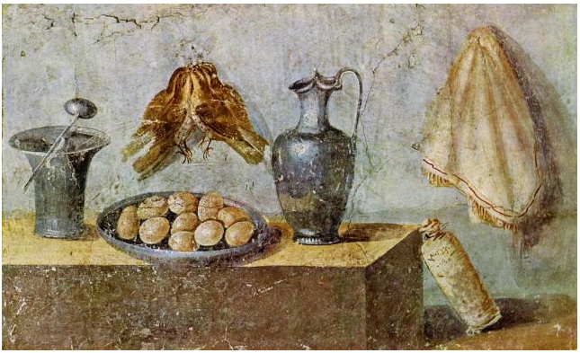 Still-life-with-game-birds-a-dish-od-eggs-a-wine-jug-other-utensils-Pompeii-House-of-Julia-Felix-Archaeological-Museum-of-Naples