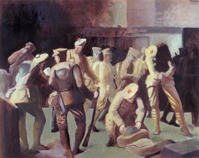 Meninsky, Bernard, 1891-1950; Sketch of Soldiers Arriving on Leave