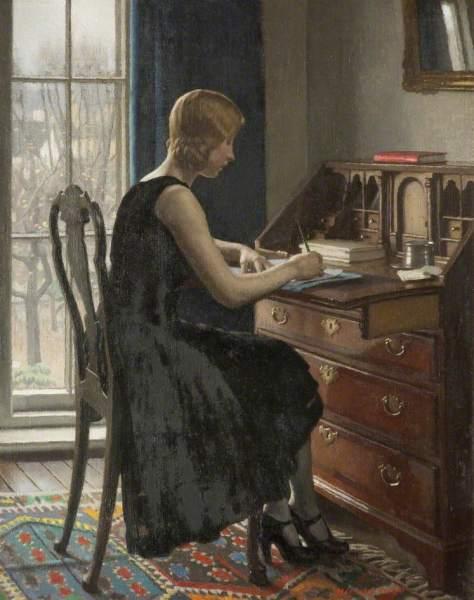 Knight, Harold, 1874-1961; Girl Writing