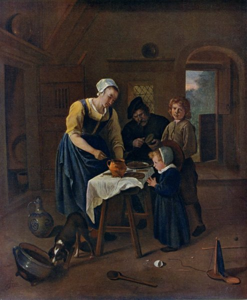 a peasant family at meal time jan steen