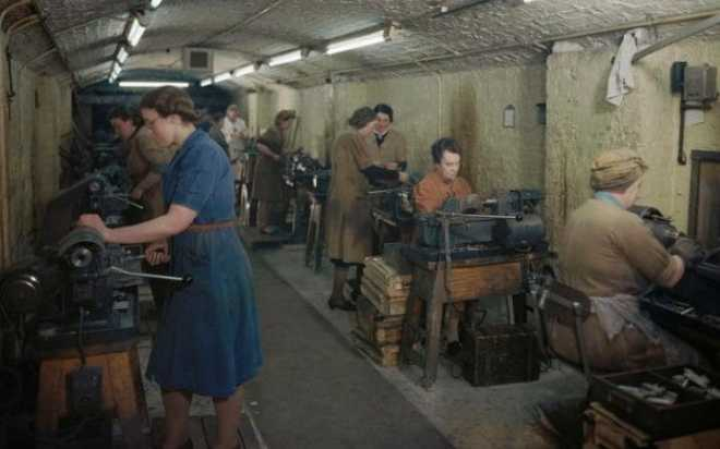 women producing bullets and cannon shells in an underground munitions factory Merseyside 1945