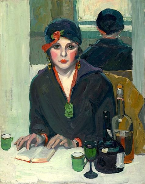 Reading at a Cafe (ca. Jane Peterson Reading at a cafe