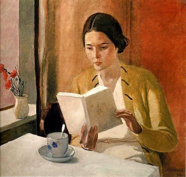 young woman reading a book 1934 aleksandr;  deineka.jpg 1899-1969