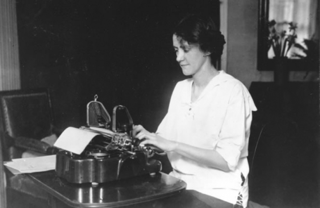 Susan Glaspell and typewriter