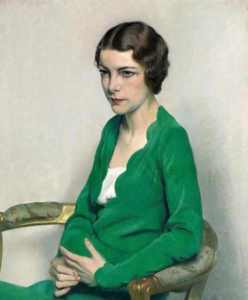 portrait of a lady wearing a green dress c 1929
