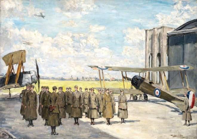 Harmar, Fairlie, 1876-1945; Women's Royal Air Force Workers Drilling at Andover Aerodrome