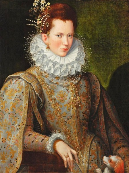 1590 - Court Lady by Lavinia Fontana (Philip Mould)-1. Friz long curly brown hair.