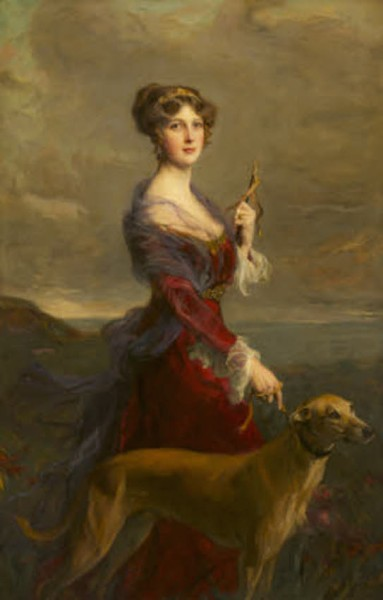 Lady Edith Helen Chaplin, Marchioness of Londonderry (1878-1959) with her Favourite Hound, Fly by Philip Alexius de László de Lombos (Budapest 1869 ¿ London 1937)