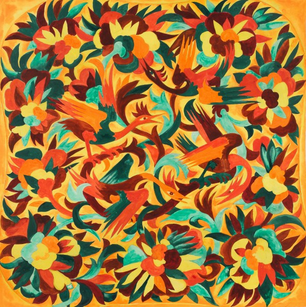 Goncharova-Design-with-birds-and-flowers.-Study-for-textile-design-for-House-of-Myrbor-X67307