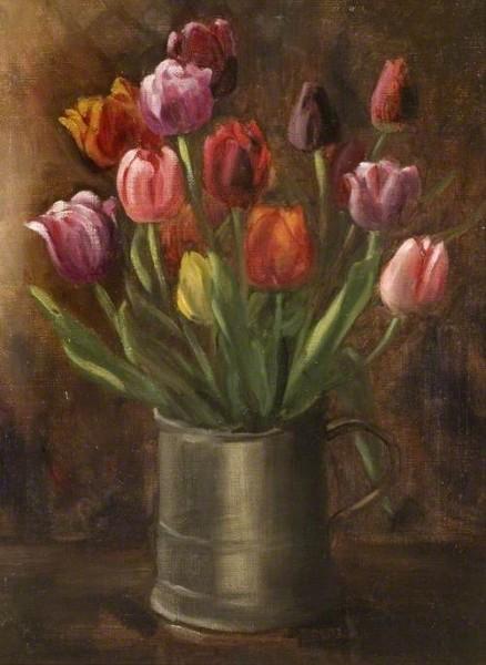 Wheelwright, Jane Elizabeth, c.1876-1957; Tulips in a Pewter Tankard