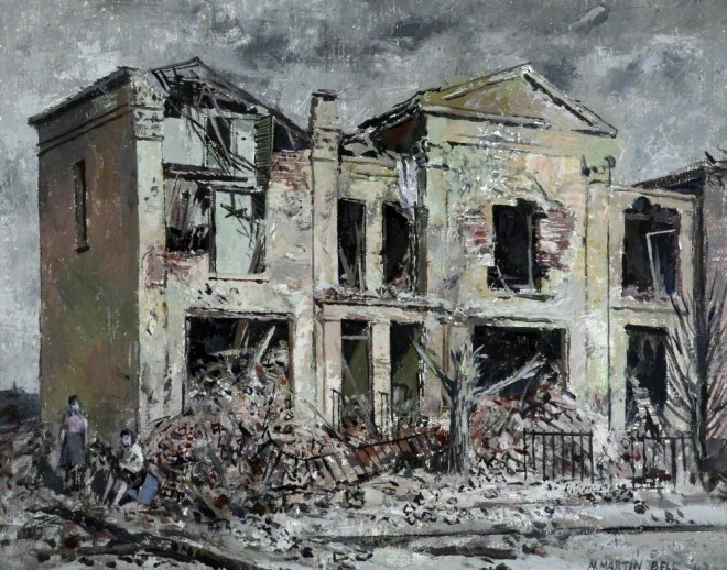 """""""Bombed Houses"""" by Martin Bell. 1943.  Walker Art Gallery"""