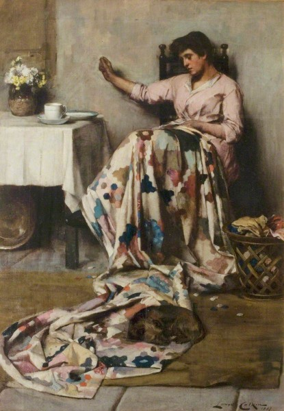 """""""The Patchwork Quilt""""  by Lance Calkin. 1887. Nottingham City Museums and Galleries"""